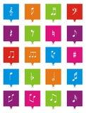 Musikanmerkungs-Quadratzeiger Stockfoto