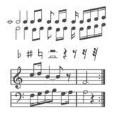 Musikanmerkungs- und -ikonenvektorsatz Lizenzfreie Stockfotografie