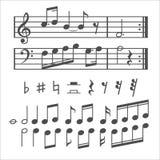 Musikanmerkungs- und -ikonenvektorsatz Lizenzfreie Stockfotos