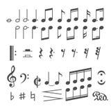 Musikanmerkungs- und -ikonenvektorsatz Stockbild
