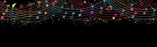 Musikanmerkungsflaggenspitzenfeier-Regenbogenlinie giltter Fahne vektor abbildung