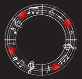 Musikanmerkungshintergrund mit Symbolen lizenzfreie abbildung