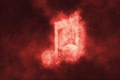 Musikanmerkungszeichen, Musikanmerkungssymbol Abstraktes backgroun des nächtlichen Himmels Stockfotografie