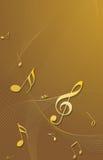 musikanmärkningar för guld 3d Arkivbild