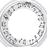 Musikanmärkningsgräns Musikalisk bakgrund Ram för rund form för musik Royaltyfria Bilder