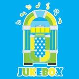Musikautomat und musikalische Anmerkung über die blaue Hintergrundkarikatur passend für Kinderparteipostkarte Lizenzfreie Stockfotos
