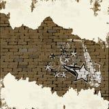 Musikbakgrundssaxofon i en tegelstenvägg Royaltyfria Foton