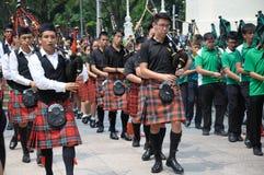 Musikband för musik för dag för St Patrick ` s säckpipe- royaltyfria foton