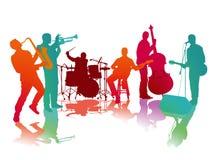 Musikband i konsert på etapp vektor illustrationer