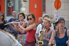 Musikband som utför på festivalen av Ghent Royaltyfri Bild