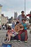 Musikband som utför på festivalen av Ghent Arkivfoton