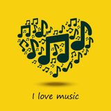 Musikbegrepp med hjärta som är full av anmärkningar Arkivbilder