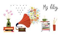 Musikblogfahne mit Grammophon und Weinlese wendet ein Lizenzfreie Stockbilder
