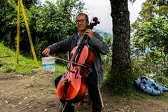 Musiken av gamala mannen Fotografering för Bildbyråer