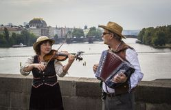 Musiker auf Charles Bridge Stockfoto