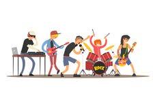Musiker auf einem Konzert Auch im corel abgehobenen Betrag lizenzfreie abbildung