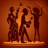 Musiker auf einer Kabarettszene Stockfotos