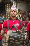 Musiker in Bhaktapur, Nepal Stockfoto