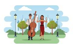 Musiker, der Baß und das Tanzen spielt stock abbildung