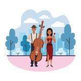 Musiker, der Ba? und maracas spielt lizenzfreie abbildung