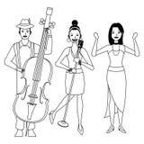 Musiker, der den Bass-Gesang und das Tanzen Schwarzweiss spielt stock abbildung