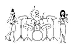 Musiker, der die Trommelmaracas und -gesang Schwarzweiss spielt stock abbildung