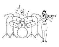Musiker, der die Trommeln und Violine Schwarzweiss spielt vektor abbildung