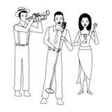 Musiker, der die Trompetenmaracas und -gesang Schwarzweiss spielt vektor abbildung