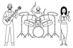 Musiker, der Gitarre Trommeln und maracas Schwarzweiss spielt vektor abbildung