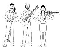 Musiker, der Gitarrenvioline spielen und Gesang Schwarzweiss lizenzfreie abbildung