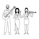 Musiker, der Gitarrenvioline spielen und maracas Schwarzweiss vektor abbildung