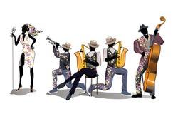 Musiker an der Partei Jazzband stock abbildung