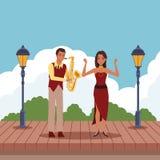 Musiker, der Saxophon und Tänzer spielt lizenzfreie abbildung