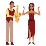 Musiker, der Saxophon und T?nzer spielt lizenzfreie abbildung