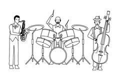 Musiker, der Saxophontrommeln spielen und Baß Schwarzweiss vektor abbildung