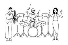 Musiker, der Saxophontrommeln spielen und Tanzen Schwarzweiss lizenzfreie abbildung