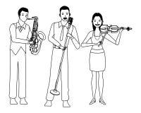 Musiker, der Saxophonvioline spielen und Gesang Schwarzweiss lizenzfreie abbildung