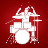 Musiker, der Trommel, Musikbandgraphik spielt stock abbildung