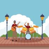 Musiker, der Trommeln und Gitarre spielt stock abbildung