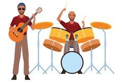 Musiker, der Trommeln und Gitarre spielt vektor abbildung