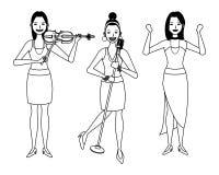 Musiker, der Violine und den Gesang und das Tanzen Schwarzweiss spielt stock abbildung