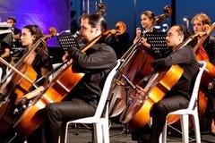 Musiker, die Contrabass spielen Stockfotos
