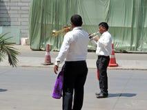 Musiker, die Signalhorn spielen Lizenzfreies Stockfoto