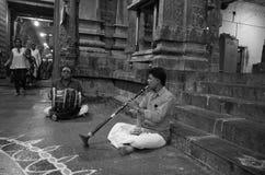Musiker i den Ekambrareswarar templet arkivfoton