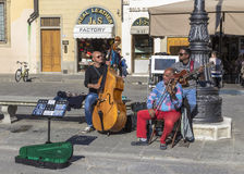 Musiker i piazza Santa Croce Arkivfoton