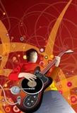 Musiker med det ovanliga gitarrDj-partiet stock illustrationer