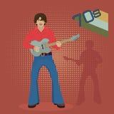 Musiker mit E-Gitarre auf einem roten Hintergrund, Retro- Vektor Abbildung