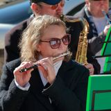 Musiker mit einer Flöte an einem freien Konzert Stockfotos