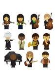 Musiker och deras musikinstrument stock illustrationer
