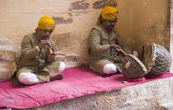 Musiker på det Jodhpur fortet Arkivfoto